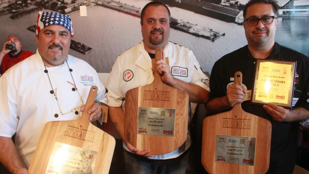 Northeast Groupon U.S. Pizza Team Trial Winners, left to right (3rd) Leonardo Giordano, Mona Lisa Pizza, Staten Island, NY.; (1st) Lenny Rago, Via Pizzeria 1-2-3, Chicago, IL.; (2nd) Gino Rago, Panino's Pizza, Chicago, IL.